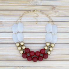 Cranberry Red Statement Necklace, Chunky Double-Strand Beaded Winter Fashion Jewelry, Large Chunky Necklace, Big Layered Burgundy Necklace