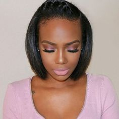 So pretty! #shorthair #boblife #makeup Donmily straight hair, 5% off code: DONMILY www.donmily.com