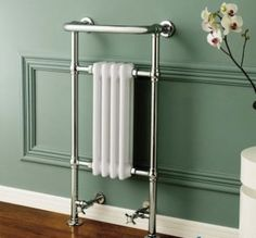 Traditional Towel Rail Radiator & Valves - Cast Iron Heated Chrome Column for sale White Towel Rail, Chrome Towel Rail, White Towels, Traditional Towel Radiator, Traditional Radiators, Modern Traditional, Traditional Bathroom, Bathroom Towel Rails, Bathroom Radiators