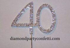 Rhinestone Number 40 Birthday Cake Topper Nice look for other years too. 40th Birthday Cake Topper, 40th Cake, 40th Birthday Decorations, 40th Birthday Parties, 40 Birthday, Cake Decorations, Birthday Celebrations, 40th Anniversary Cakes, Anniversary Jewelry