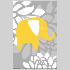 Modern Nursery Art  Floral Elephant  13x19 Print  by Tessyla, $30.00