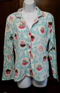 PJ Salvage MEDIUM Button-up L/S 100% Cotton Cupcake Night Sleep Shirt Pajamas