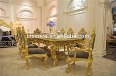 Antique Carved Dining Table Set, Gorgeous Luxury Glass Top Dining Table 8 Chairs Set, Royal Golden Glass Rectangle Dining Table, View royal golden rectangle dining table set, Bisini Product Details from Bisini Furniture And Decoration Co., Ltd. on Alibaba.com