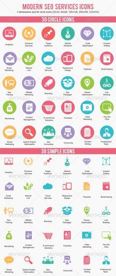 Modern Seo Services Icons .This image is available on GraphicRiver.       Modern Seo Services Icons perfect for web and templates. Features  30 Modern SEO Services Icons  2 Styles (circle and simple) Available in: Ai, EPS 10 and PNG (512px, 256px, 128px, 64px, 32px – only circle icons) Fully layered and fully editable Easy to change colors and adjustable to any size Services List Analytics Premium Services Target Audience Market Research Code Optimization Content Editing Email Marketing…