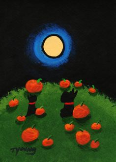 Scottie Dog PUMPKIN PATCH Modern Folk Art PRINT of Todd Young painting by ToddYoungArt on Etsy https://www.etsy.com/listing/165462263/scottie-dog-pumpkin-patch-modern-folk