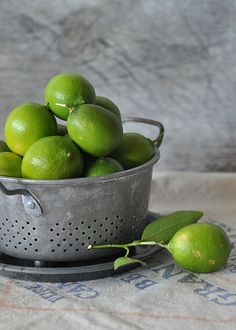 Limes by Lemons and Lavender. Link to recipe for Lime Sorbet with Tequila-Marinated Blood Oranges. Fruit And Veg, Fruits And Vegetables, Fresh Fruit, Lime Sorbet, Vegetables Photography, Lemon Lime, Blood Orange, Green And Grey, Just In Case