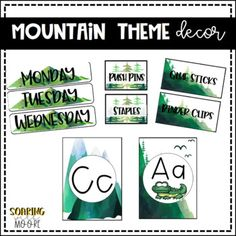 This bundle includes decor for your classroom to help you create a calming water color mountain themed classro. Toddler Classroom, 4th Grade Classroom, New Classroom, Classroom Design, Preschool Classroom, Classroom Themes, Classroom Libraries, Kindergarten, Teacher Toolbox Labels