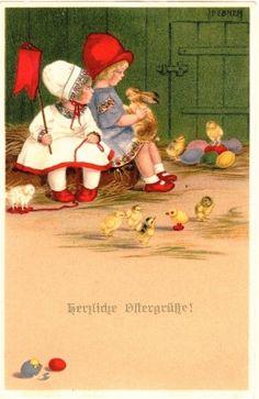 OSTERN -2 Kinder,Spielzeug,Hase,Küken - M.Munk Vienne SIGNIERT Pauli Ebner -1920
