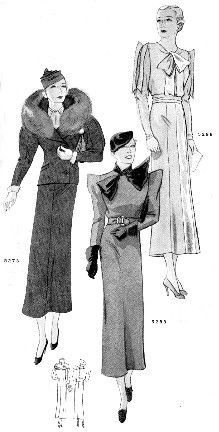 """Part of a suggested bridal trousseau, Delineator magazine, June 1933. Left to right: Eel brown ribbed wool suit with blue fox fur collar (going-away outfit, or for a ceremony at City Hall). Olive green wool """"gadabout frock"""" with satin bow, gloves, and beret. Satin dress-up frock, using the dull side for the dress and the shiny side for the small touches; """"it would be marvelous in rosy red, but every bit as smart in black or eel brown."""""""