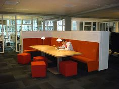 Collaborate in a comfortable setting with a little privacy tossed in., Collaborate in a comfortable setting with a little privacy tossed in. Corporate Office Design, Corporate Interiors, Workplace Design, Office Interiors, Creative Office Space, Office Space Design, Office Spaces, Office Cubicles, Lounge Design