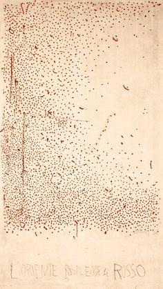 """Gastone Novelli""""L'Oriente risplende di rosso""""mixed media on canvas200 x 350 cm(1968)"""