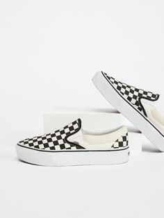 Vans Black / White Checker Classic Platform Slip-On Sneaker at Free People Clothing Boutique