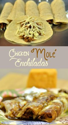 Easy chicken mole Enchiladas with jar. I slow cooked chicken thighs with prepare Mole sauce . And added Mexican cheeses throughout!