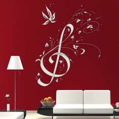 Floral Treble Clef Wall Sticker Music Wall Decal Art available in 5 Sizes and 25 Colours Large Basalt Grey Music Wall Art, Music Decor, Wall Tattoo, Big Girl Rooms, Floral Wall, Music Notes, Wall Stickers, Wall Murals, Creations