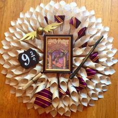 Harry Potter Book Page Wreath by AuroraWreaths on Etsy https://www.etsy.com/listing/248526781/harry-potter-book-page-wreath