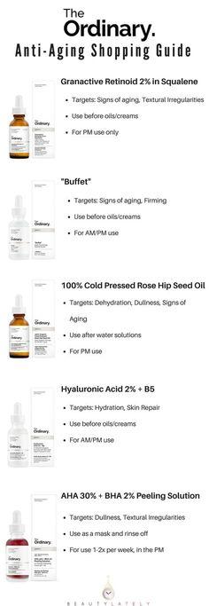 The Ordinary: Anti Aging Regimen Guide - Hautpflege gegen Alterung - Skin Care Best Anti Aging, Anti Aging Skin Care, Natural Skin Care, Natural Beauty, Natural Facial, Anti Aging Tips, Creme Anti Age, Anti Aging Cream, Skin Care Regimen