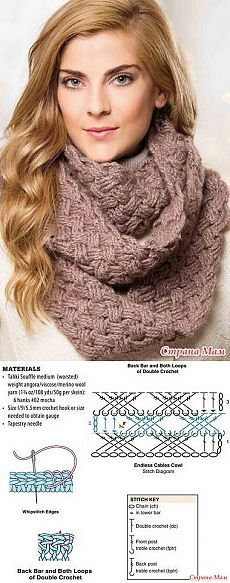 ideas knitting projects cowl for 2019 Crochet Shawls And Wraps, Crochet Scarves, Crochet Clothes, Crochet Stitches Patterns, Crochet Chart, Crochet Motif, Crochet Cable, Diy Crochet, Crochet Patron