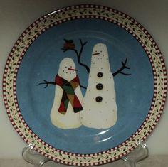 SNOWMAN PLATE Sakura Debbie Mumm Black Bird Christmas Holiday Light Blue
