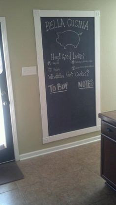 Chalk board in kitchen.