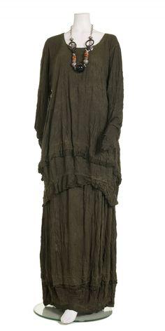 Barbara Speer Khaki Crinkle Jersey Skirt