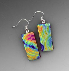 Dichroic Glass Textured Glass Earrings Red Glass by GlassCat