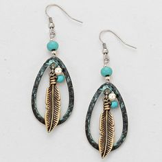 These earrings are cute, chic, and fashionable.  They feature a teardrop shape with feather and stone accent.  They would pair nicely with a jeans and tee shirt outfit or dress them up with a little black dress.  BOHO CHIC ANTIQUE TURQUOISE LARGE TEARDROP FEATHER DANGLE EARRINGS $9.99 www.nanascountryrusticshop.com www.facebook.com/nanascountryrusticshop