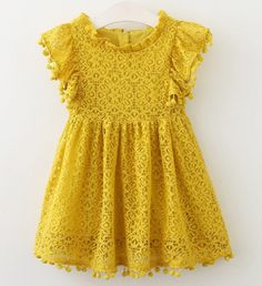 POM POM LACE DRESS YELLOW