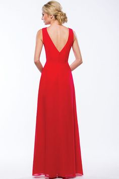 Red Chiffon Bridesmaid Dress Alluring V Neck Backless Pleated Long