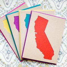 Set of 4 California Die-Cut Card - Kraft & Multi-Color by Yellow House Handmade