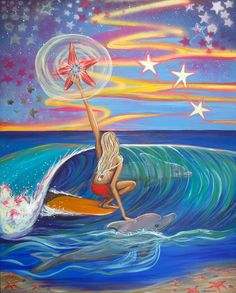 Ocean star, sea star, dolphins, sun sets, surfer girls