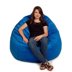 The Large Ultra Suede Bean Bag is not only wonderful to look at, it also has a great feel and is made to last. Constructed with authentic grained faux suede. Fur Bean Bag, Large Bean Bag Chairs, Soft Chair, Gray Color, Furniture, Cobalt Blue, Lighter, Design, Youth