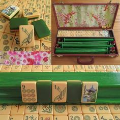 Circa two-tone Ivorycraft Catalin tiles. The tile tops are ivory-golden Catalin, the tile bottoms, green Catalin. There is a variation in color on the tiles, this is natural to Catalin. Mahjong Table, Mahjong Set, Tiles Game, Two Tones, Table Games, Light Painting, Card Games, Hand Carved, Carving