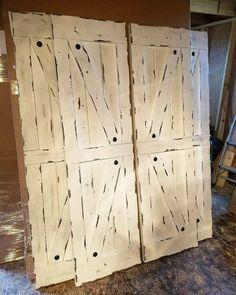 Interior Window Barn Shutters - Sliding Shutters - Barn Door Shutter images ideas from Home Inteior Ideas Rustic Window Treatments, Shutter Designs, Sliding Windows, Sliding Door, Interior Windows, Shutter Doors, Double Barn Doors, Barn Door Hardware, Wood Doors