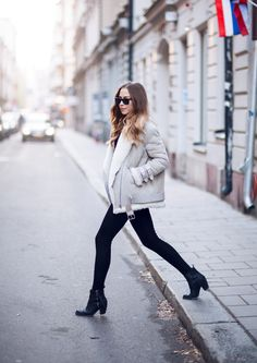 Shearling Trend: Kenza Zouiten is wearing a shearling Acne Velocite jacket