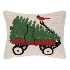 Peking Handicraft Wagon, Tree and Cardinal Hook Wool Throw Pillow