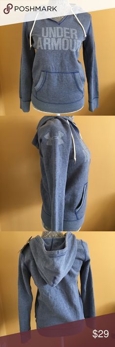 NWT Under Armour Hoodie NWT Under Armour Hoodie.  Fleece-lined soft hoodie - blue w/dark blue detailed stitching and light blue writing. Under Armour Tops Sweatshirts & Hoodies