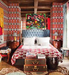 perfect! love, love... ikat wallpaper + vintage louis luggage  via architectural digest