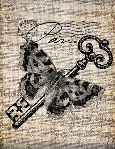 Antique Paris France Butterfly Ornate Postmark by AntiqueGraphique. $1.00, via Etsy.