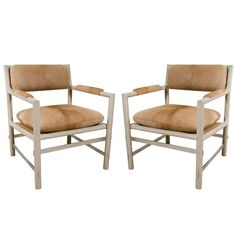 Pair of Edward Wormley for Dunbar Chairs in Cowhide, circa 1960, USA | From a unique collection of antique and modern chairs at https://www.1stdibs.com/furniture/seating/chairs/