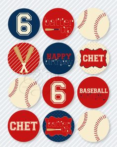 Baseball Birthday PRINTABLE Party Circles by Love The Day. $14.00, via Etsy.