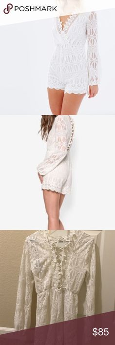 Bardot romper❤️️ Gorgeous white and laced romper. Online at Bardot for 149$. Main- 100% nylon. Lining- 100% polyester. Trim- 100% cotton. Cold hand wash. Bardot Dresses