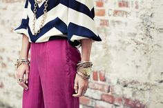 chevron patterned blouse with colored jeans, HELLO color-block!