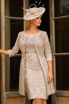Condici 11295 Cloque Dress & Coat in Honey Buzz & Chambray