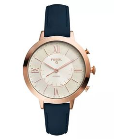 Fossil Women's Tech Jacqueline Blue Leather Strap Hybrid Smart Watch 36mm & Reviews - Watches - Jewelry & Watches - Macy's