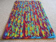 Check out the deal on Rainbow Tie Dye T Shirt Yarn Rug -Rectangle at Eco First Art