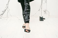 Lost in  communication  black leggings with by ZIBtextile on Etsy, $45.00