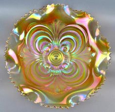 """SCROLL EMBOSSED - IMPERIAL Clambroth Carnival Glass Ruffled 8"""" Bowl"""