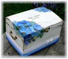 wedding box, hand made wedding box, blue flower wedding box, wedding card box, memory box