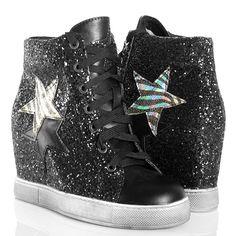 Sneakersy Czarne Brokatowe Trampki Na Koturnie #czarne