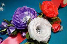Ribbon flowers:opened satin ribbons rose/Цветы из лент: открытая роза из...